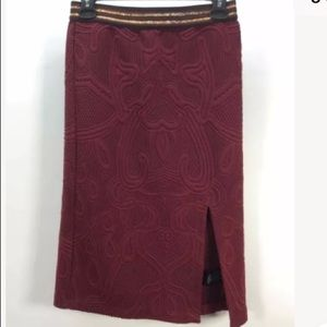 NWT Maeve Anthropologie Wine Textured Knit Skirt S